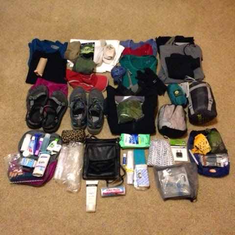 Camino gear packed on floor