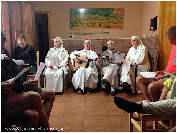 ...to a spiritual song sing-along with the nuns atAlbergue Paroquial Santa Maria.