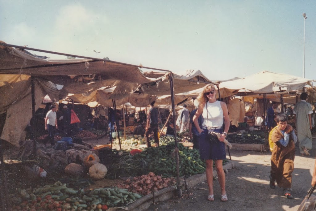 Young American woman in Moroccan outdoor market