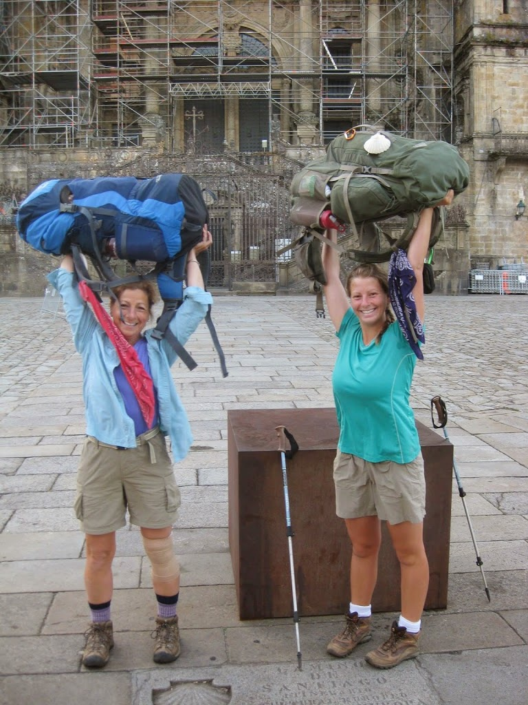 Suzanne and her daughter Julia in front of the Cathedral of St. James, having achieved their goal