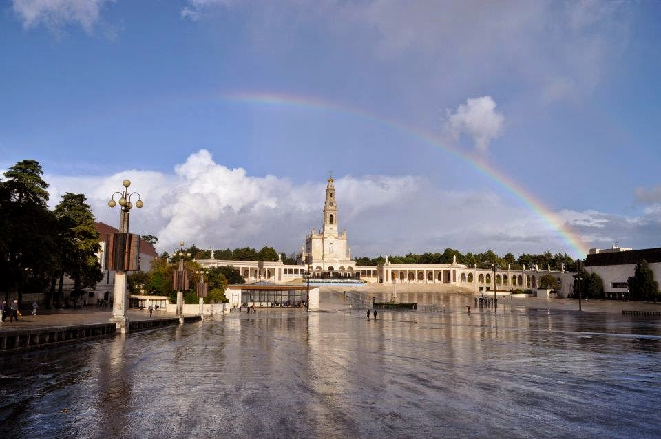 Rainbow over The Sanctuary of Our Lady of Fátima in Portugal.