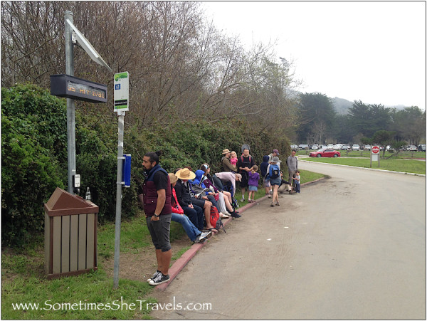 Line of people at bus stop