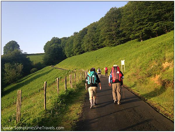 Following other pilgrims departing Orisson.