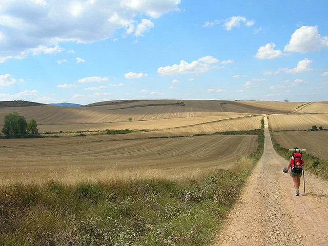 Woman backpacking on dirt road through fields