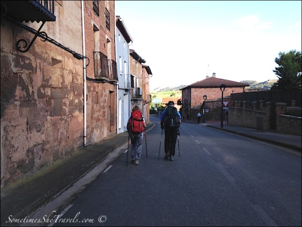 camino de santiago pilgrims walking through Azorfa