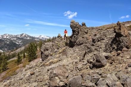 woman on rocks in Tahoe