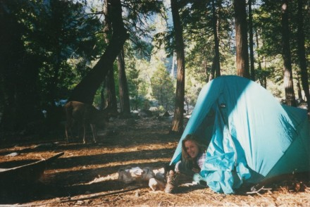 Woman in tent in forest