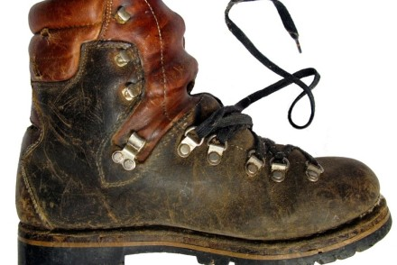 old-fashioned worn hiking boot