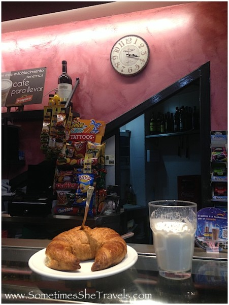 croissant and warm milk on bar when the night bus takes a break