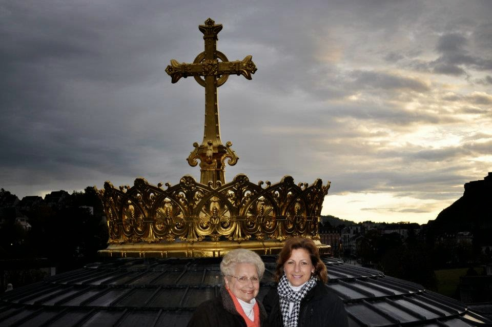 Suzanne with her mother in 2011 visiting the holy sites of France, Portugal, and Spain
