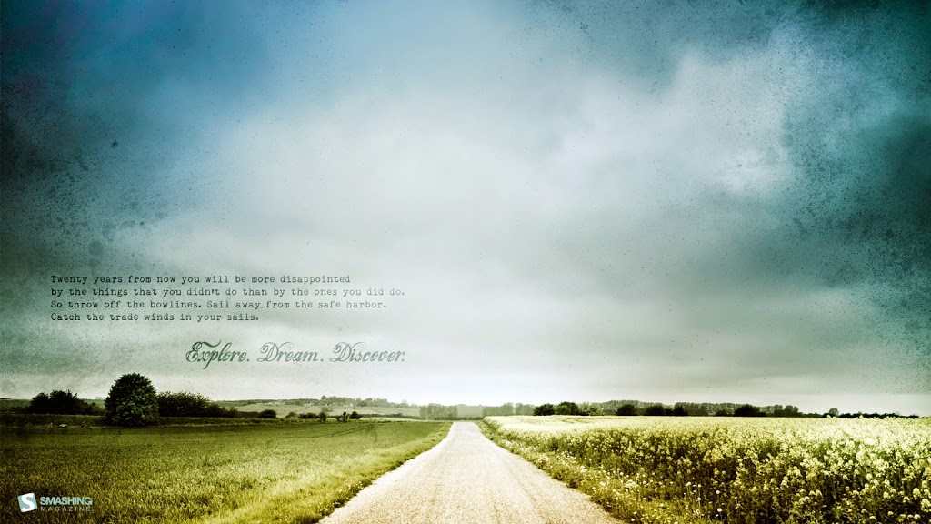 country road through flat fields with a quote about exploring