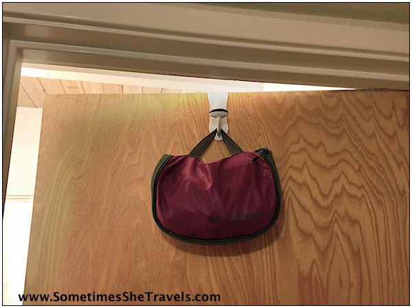 Dollar store hook and toiletry bag