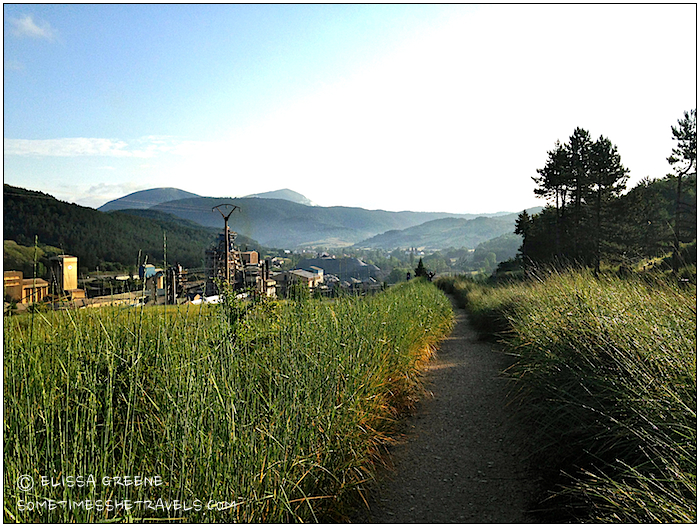 Looking back at Zubiri and the Pyrenees. It was amazing to think we had crossed that mountain range on foot.