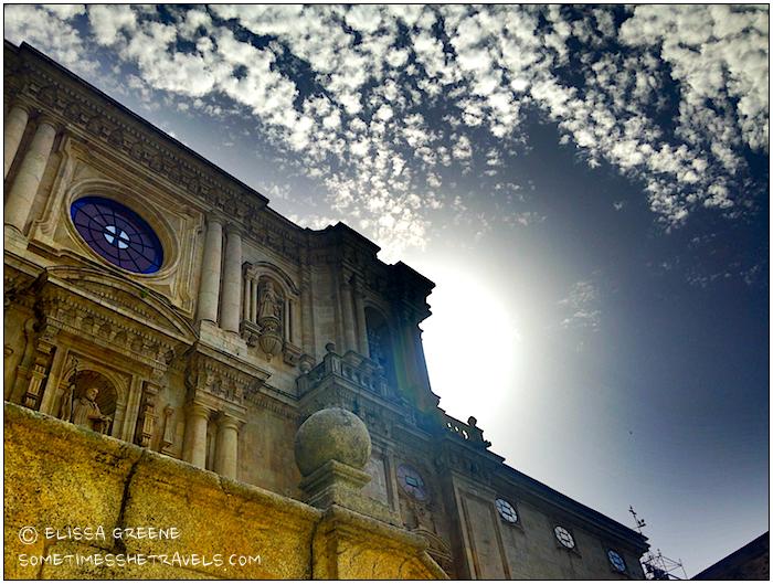 sunlight behind an ancient monastery