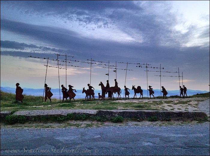 Pilgrim statues at sunrise